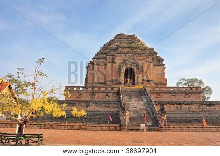 Grandiose ritual construction in Thailand. The step pyramid in which is the huge gold Buddha