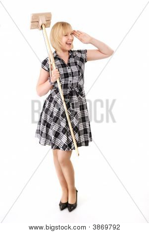 Happy Housewife With Broom