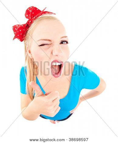 Funny girl with thumb up isolated on white, fish eye lens shot