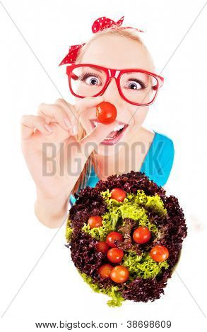 Cheerful funny girl playing with salad, isolated on white, fish eye lens shot