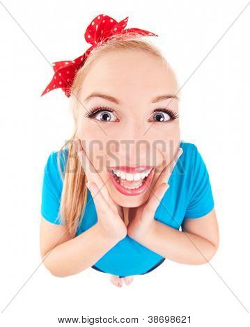 Excited funny girl isolated on white, fish eye lens shot