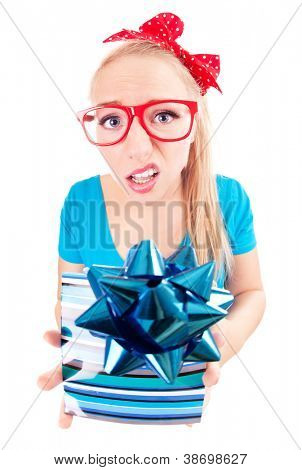 Funny girl disappointed with a gift