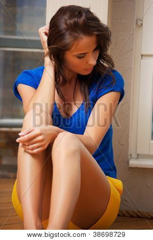 bright picture of sad and lonely woman