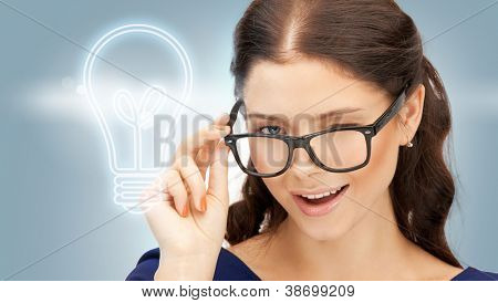 bright picture of happy and smiling woman in specs