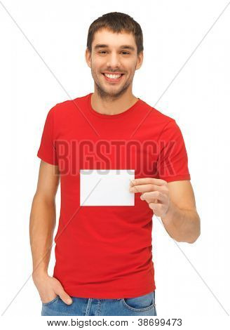 bright picture of handsome man with note card.