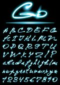 stock photo of cursive  - vector glowing transparent Alphabet - JPG