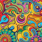 picture of hippy  - psychedelic seamless pattern - JPG