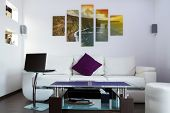 picture of cliffs moher  - Modern lliving room interior with Cliffs of Moher canvas on the wall  - JPG