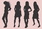 pic of person silhouette  - a vector illustration of female silhouettes - JPG