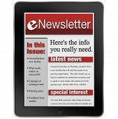 An enwsletter news alert update emailed to a tablet computer to keep you informed with important art