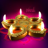 stock photo of deepavali  - Diwali Oil Lamp - JPG