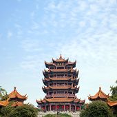 Yellow Crane Tower temple Landmark Travel Destination, Wuhan Hubei China poster