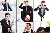 stock photo of rude  - Composition of angry business people - JPG