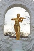 VIENNA- FEB 19: Johann Strauss statue on pedestal on FEB 19, 2012, in Vienna, Austria. First erected