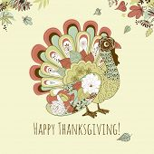 pic of give thanks  - Happy Thanksgiving beautiful turkey card - JPG