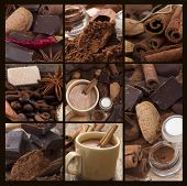 picture of chocolate spoon  - hot chocolate collage - JPG