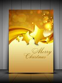Merry Christmas greeting card, gift card and invitation card with Xmas stars on snowflakes wave back