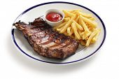 foto of baby back ribs  - barbecued pork spare ribs and french fries - JPG