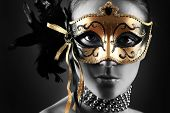 stock photo of mask  - beautiful woman in mysterious mask - JPG