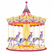 stock photo of carousel horse  - Colorful carousel with little horses - JPG