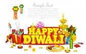 stock photo of deepavali  - illustration of decorated diwali diya with gift box and sweet - JPG
