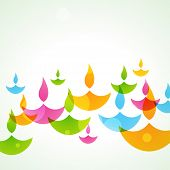 stock photo of diya  - beautiful colorful stylish vector diwali background - JPG