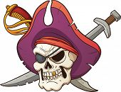 stock photo of pirate sword  - Captain pirate skull - JPG