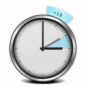 stock photo of daylight saving time  - illustration of a clock with daylight saving time 1h - JPG