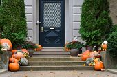 foto of front-entry  - Halloween decorated front door with various size and shape pumpkins - JPG