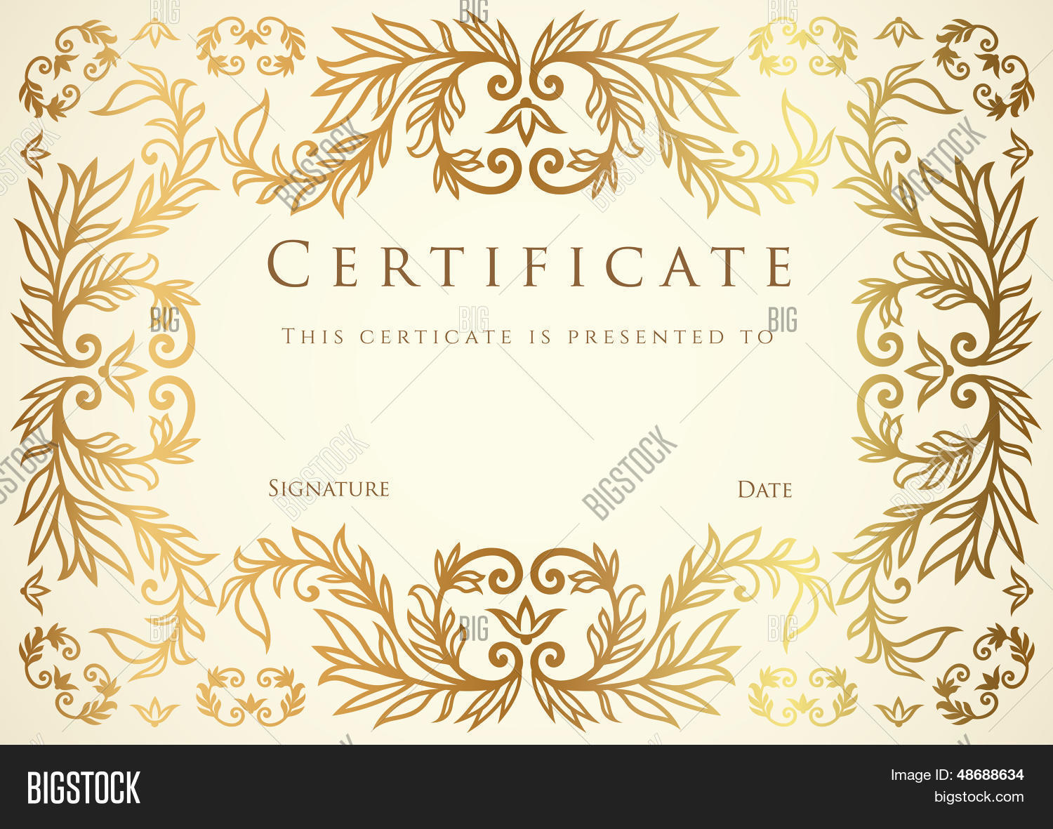 Certificate diploma template vector photo bigstock certificate diploma template with floral pattern tracery yadclub Choice Image