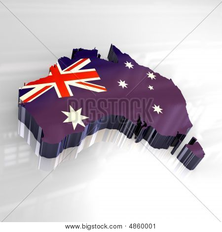 3D Flag Map Of Australia
