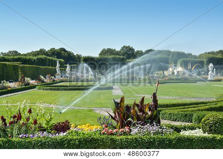 Boxwood Decorations And Flowers In Herrenhausen Gardens, Hanover, Germany