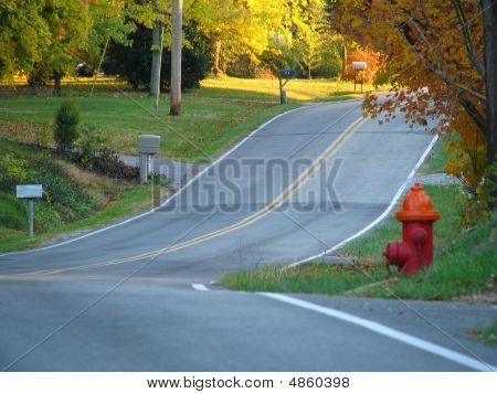 Curved Country Road And Hydrant