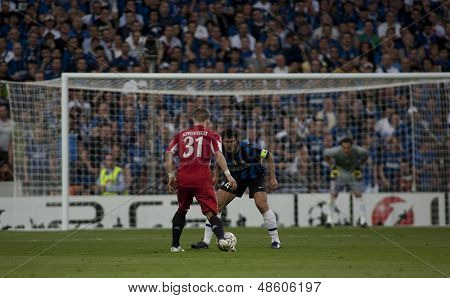 MADRID, SPAIN. 22/05/2010. Munich's midfielder Bastian Schweinsteiger  and Milan's captain Javier Zanetti in action during the  Champions League final played in The Santiago Bernabeu Stadium, Madrid.