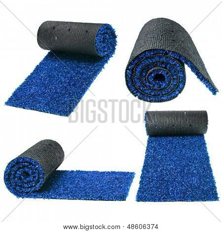 artificial rolled grass set isolated on white background
