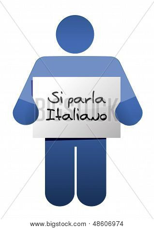 I Speak Italian Sign Illustration Design