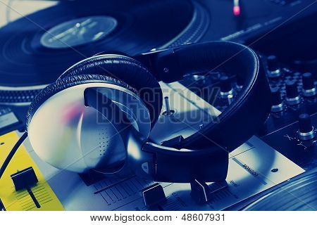 Dj Headphones On Sound Mixer