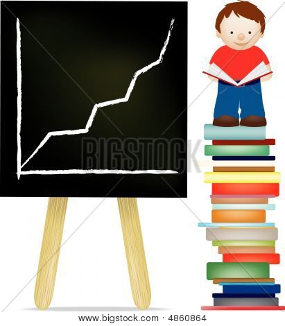 Boy And Blackboard Reading