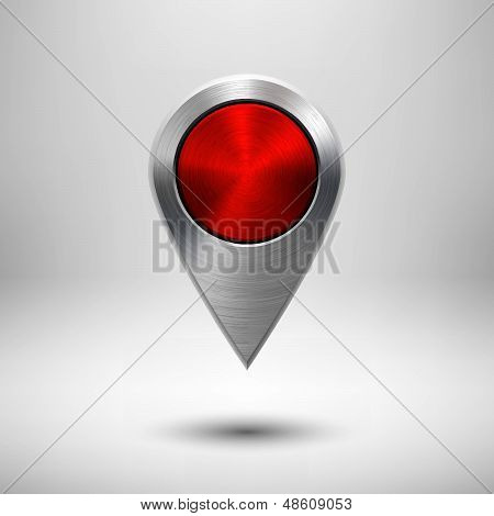 Technology Map Pointer with Red Metal Texture