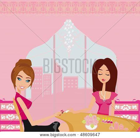 Girl Doing Manicure In Beauty Salon