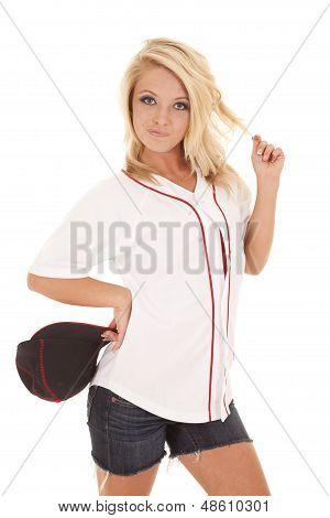 Woman Baseball Hat Off