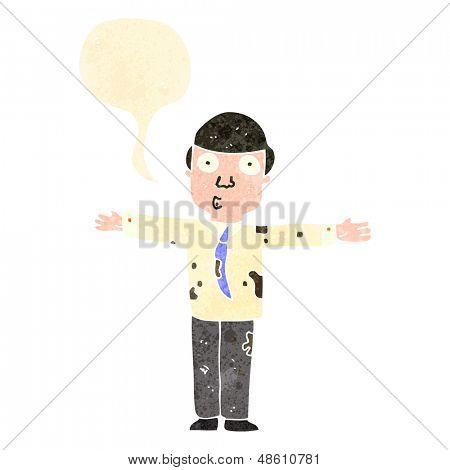 retro cartoon dirty businessman with speech bubble