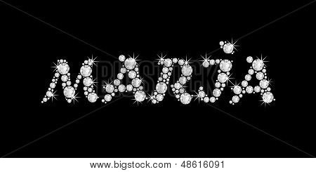 the name MARIA in bling diamonds font style word