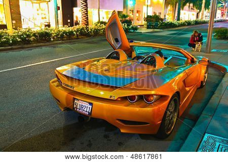 LOS ANGELES, CALIFORNIA, USA - JULY 27, 2013 : Luxurious Slovenian sports supercar Tushek stops on Rodeo Drive in Beverly Hills, California on July 27, 2013. Tushek is the Slovenia supercar builder.