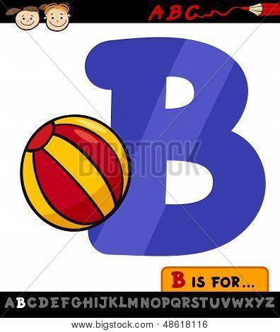 Letter B With Ball Cartoon Illustration