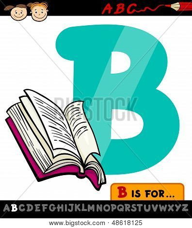 Letter B With Book Cartoon Illustration