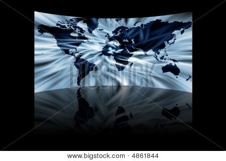 Abstract Map Of The World With Reflection Isolated On Black