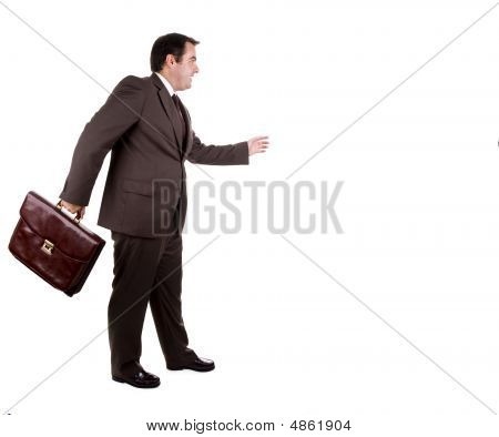 Businessman With Brown Classic Case. Isolated On White