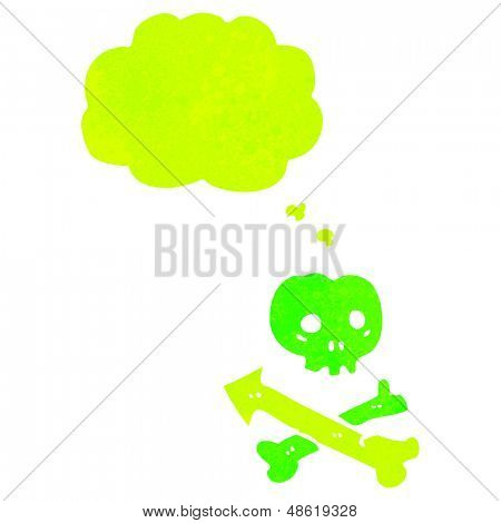 retro cartoon skull and crossbones with thought bubble