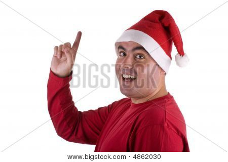 Man Wearing Red Santa Hat With Surprise Expression